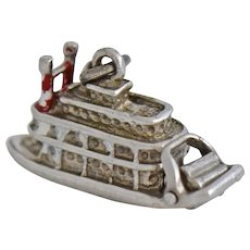 Vintage Sterling Silver New Orleans Riverboat Charm Tag Movable Red White Enamel