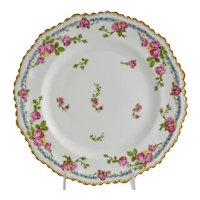 Vintage Limoges JPL Plate Pink Roses Blue Flowers Raised Dots Gold Jean Pouyat 1890-1932
