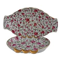 Roses Chintz Porcelain Cigarette Holder Ashtray Coffee Table Top Smoke Set