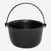 Vintage Cast Iron Toy Miniature Cauldron Bean Pot Rounded Bottom Swing Handle Numbered 5