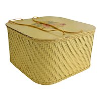 Vintage Harvey Wicker Sewing Basket Yellow Floral Decal Cord Handles Wood Shelf Mid Century