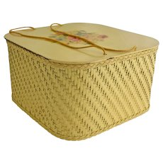 Vintage Harvey Wicker Sewing Basket Yellow Floral Decal Cord Handles Wood Shelf Mid Century