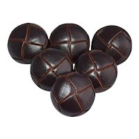 Vintage Leather Buttons Woven Dark Brown Molded Leather Metal Shanks Set of 6