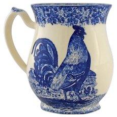 Vintage Moorland Rooster Spongeware Cup Mug by Chelsea Works Burslem Staffordshire England Cobalt Blue