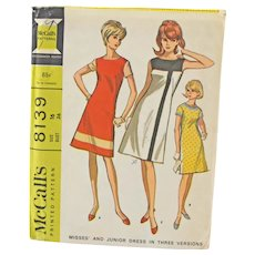 Vintage 1960s McCalls 8139 Sewing Dress Pattern Misses and Junior Size 16 Copyright 1965
