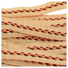 Vintage Woven Passementerie Gimp Lace Trim Red Orange Dark Brown Ecru Autumn Colors 11 Yards