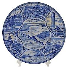 Vintage San Francisco Souvenir Plate Blue and White Bay Area Scenes