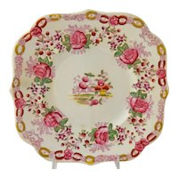 Antique European Chinoiserie Cabinet Plate English Transferware Hand Painted Enamel Pink Pagoda Red Roses
