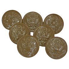 Vintage WWII Military Bakelite Buttons American Eagle Embossed Set of Seven Olive Green