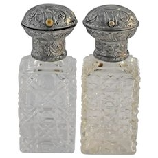 Antique English Sterling Silver Cut Glass Perfume Bottles Hinged Pair