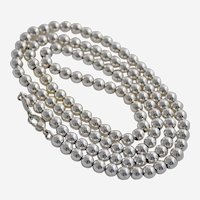 Vintage Napier Silver Bead Necklace 31 Inches Signed Metal Tag Opera Length
