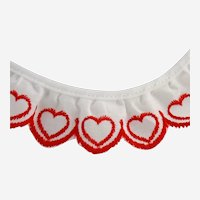 Vintage Red White Hearts Lace Trim Embroidered Ruffle 2.69 Yards 97 Inches 3 Pcs
