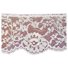 Vintage Chantilly Floral Lace Trim Ivory Flowers 114 Inches 3 Inches Wide Continuous