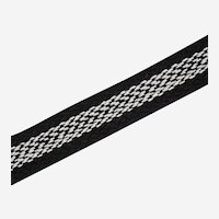 Vintage Flat Trim Braided Cotton Black White Embroidered Weave 11 Yards 19 Inches Continuous