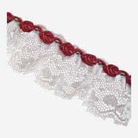 Vintage Chantilly Dolly Lace Trim Tambour Corded Burgundy Rosettes Edge 69 Inches