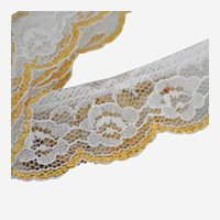 Vintage Metallic Chantilly Net Lace Trim White Flowers Scalloped 124 Inches Continuous Length 3+ Yards