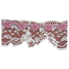Vintage Chantilly Lace Trim Tambour Corded Pink Rosettes Edge 52 Inches