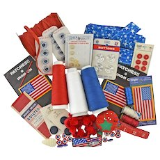 Vintage Patriotic Sewing Notions Red White Blue Flags Kreinik Metallic Serger Threads Pin Cushion Buttons