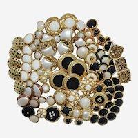 Vintage Metallic Buttons Gold Tone Faux Metal Plastic Pearl Sets Singles