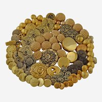 Vintage Metallic Buttons Gold Tone Faux Metal Sets Singles Lot of 100