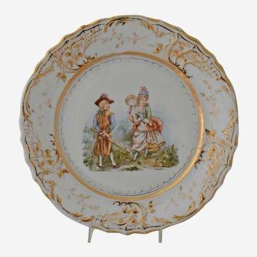 Antique Fraureuth German Porcelain Plate Romantic Scene Courting Couple 19th Century circa 1865-1896