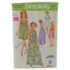 Vintage Simplicity 8247 Halter Dress Sewing Pattern Copyright 1969 Miss Size 12 Uncut