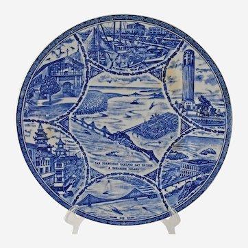 Vintage San Francisco Souvenir Plate Blue White San Francisco Oakland Bay Bridge