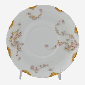 Vintage Haviland Limoges Saucer Plate Pink Yellow Flowers Brushed Gold Gilt