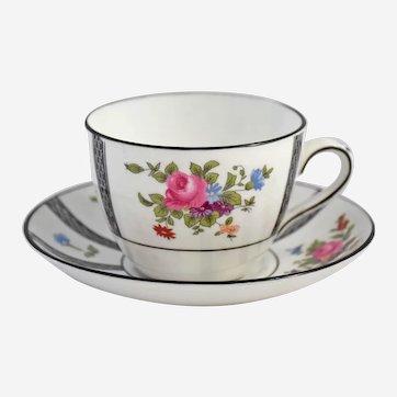 Antique Crown Staffordshire Cup Saucer Paneled Floral Sprays Pink Rose Flowers Black Trim
