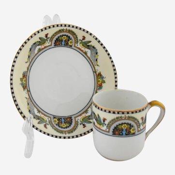 Noritake Granada Demitasse Cup and Saucer Birds Flowers Black White Bands Gold Trim