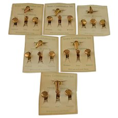 Vintage Stud Buttons Cuffs Sentry Combination Set Brass Enameling Six Original Cards circa 1940s Military