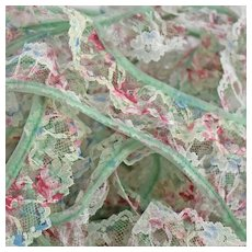 Variegated Sewing Net Lace Trim Gathered Scalloped Ruffled Edging Floral Green Blue Pink 5 Yards 20 Inches