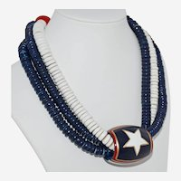 Vintage Wooden Patriotic Choker Necklace Three Strands Red Blue White Chunky Hand Painted Wood