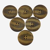 Vintage Composite Coat Buttons Mottled Brown Tan Molded Convex 4 Hole Sew Through Set of Six