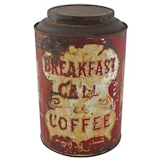 Vintage Breakfast Call Coffee Advertising Tin Tea Canister circa 1920s