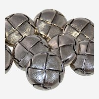 Ten Vintage Shank Buttons Silver Metallic Braided Leather Woven Design One Inch