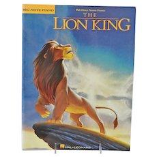 Walt Disney The Lion King Sheet Music Big Note Piano Book Copyright 1994