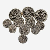 Vintage Japanned Shank Buttons Silver Black Round Raised Amoeba Ameba Design Set of 11