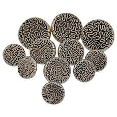 Vintage Japanned Shank Buttons Silver Black Round Raised Amoeba Ameba Design Set of 11