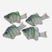 Four Vintage Porcelain Fish Chopstick Knife Rests Hand Painted Figural