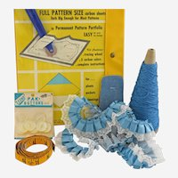 Vintage Sewing Notions Lace Ribbon Thread Pin Cushion Accessories Blue Yellow Gold Lot Collection