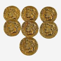 Seven Vintage Roman Coin Buttons Vipsanius Agrippa F COS III Portrait Metal Gold Plate