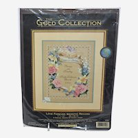 Vintage Crewel Embroidery Dimensions Needlework Kit Love Forever Wedding Record 1520 by Karen Avery 1999