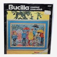 Vintage Bucilla Cross Stitch Kit Splish N and Splash N 40927 Artwork by Corinne Hartley circa 1994