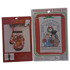 Two Vintage Holiday Counted Cross Stitch Ornament Kits Cross My Heart Mittens Christmas New Berlin Co.