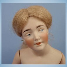 Beautiful Bisque Kestner Half Doll, Wig, Jointed Arms