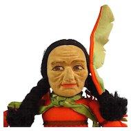 Unusual Nora Wellings Cloth Native American Man, Tomahawk