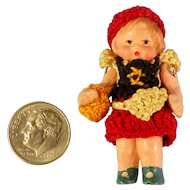 Tiny All Bisque Hertwig Doll in Original Crocheted Clothing