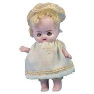 Tiny Odd Adorable German All Bisque Doll, Sleep Eyes