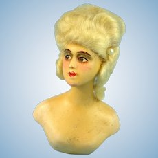 Wax Over Half Doll Boudoir Bust, Mohair Wig